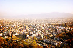 Kathmandu city view from Swayambhunath Temple - vintage effect. Stock Photo
