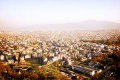 Kathmandu city view from Swayambhunath Temple - vintage effect. Stock Photo