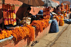 Selling Flowers at Kathmandu Durbar Square Stock Photo