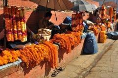 Selling Flowers at Kathmandu Durbar Square Stock Photo