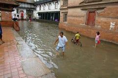 Kathmandu after heavy Monsoon rain. Royalty Free Stock Image