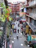 Kathmandu, le vie di Thamel Immagini Stock
