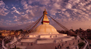 Kathmandu, Nepal – November 8th. Boudhanath stupa at sunset Stock Photos