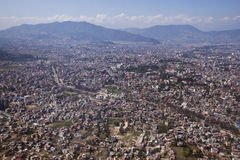 Kathmandu, Nepal. Kathmandu and the Himalayas taken from the air Stock Photos