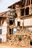 KATHMANDU, NEPAL - APRIL 26, 2015: Debris of buildings at the Durbar square in Kathmandu after, after a 7.8 earthquake, Nepal. Architecture broken building city stock photos