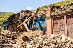 KATHMANDU, NEPAL - APRIL 26, 2015: Debris of buildings at the Durbar square in Kathmandu after, after a 7.8 earthquake, Nepal. Architecture broken building city Royalty Free Stock Images