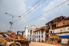 KATHMANDU, NEPAL - APRIL 26, 2015: Debris of buildings at the Durbar square in Kathmandu after, after a 7.8 earthquake, Nepal. Architecture broken building city stock photo