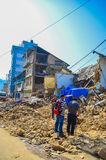 KATHMANDU, NEPAL - APRIL 26, 2015: Debris of buildings at the Durbar square in Kathmandu after, after a 7.8 earthquake, Nepal. Architecture broken building city Royalty Free Stock Image