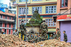 KATHMANDU, NEPAL - APRIL 26, 2015: Debris of buildings at the Durbar square in Kathmandu after, after a 7.8 earthquake, Nepal. Architecture broken building city stock image