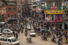 Kathmandu. NEPAL – CIRCA OCTOBER 2013: daily traffic on the streets of  circa October 2013 in Royalty Free Stock Image