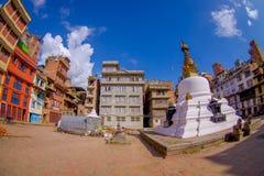 KATHMANDU, NEPAL 15 DE OUTUBRO DE 2017: Opinião da noite do stupa de Bodhnath - Kathmandu - Nepal, efeito do olho de peixes Fotografia de Stock