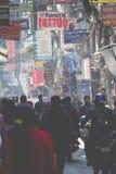 KATHMANDU, NEPAL - 10. FEBRUAR 2015: Die Straßen von Kathmandu, Lizenzfreies Stockbild