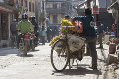 KATHMANDU, NEPAL - FEBRUARY 10, 2015: The streets of Kathmandu, Stock Photography