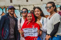 Dr Kc Supporters posing for a photo. Protest rally organised in K. Kathmandu, Nepal - Jul 21, 2018: A protest rally was organised in Kathmandu in support of Dr stock photo