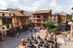 KATHMANDU, NEPAL - JULY 09, 2013: Swayambhunath or Monkey temple square top view, Kathmandu, Nepal. The temple is protected as the Stock Photos