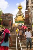 KATHMANDU, NEPAL - JULY 09, 2013: Swayambhunath or Monkey temple stairs, Kathmandu, Nepal. The temple is protected as the UNESCO Stock Image