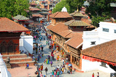 KATHMANDU, NEPAL - JUNE 2013: Everyday scene at Durbar Square Royalty Free Stock Image
