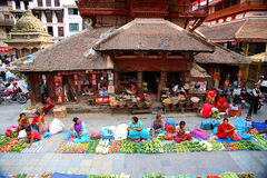 KATHMANDU, NEPAL - JUNE 2013: Everyday scene at Durbar Square Royalty Free Stock Photography
