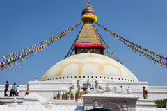 KATHMANDU, NEPAL 28. MÄRZ: Boudhanath-stupa am 28. März 2015 herein Stockfoto