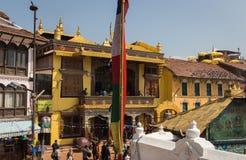 KATHMANDU, NEPAL 28. MÄRZ: Boudhanath-stupa am 28. März 2015 herein Stockbild