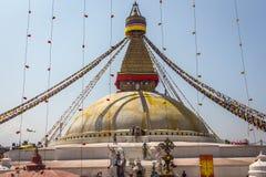 KATHMANDU, NEPAL 28. MÄRZ: Boudhanath-stupa am 28. März 2015 herein Stockbilder