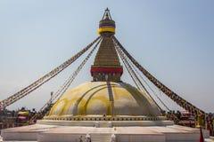 KATHMANDU, NEPAL 28. MÄRZ: Boudhanath-stupa am 28. März 2015 herein Lizenzfreie Stockfotografie