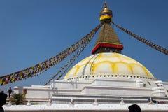 KATHMANDU, NEPAL 28. MÄRZ: Boudhanath-stupa am 28. März 2015 herein Stockfotografie