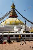 KATHMANDU, NEPAL 28. MÄRZ: Boudhanath-stupa am 28. März 2015 herein Lizenzfreies Stockbild