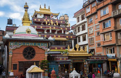 KATHMANDU, NEPAL 16. MÄRZ: Die Straßen von Kathmandu am 16. März, Lizenzfreies Stockfoto