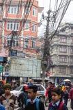 KATHMANDU, NEPAL 16. MÄRZ: Die Straßen von Kathmandu am 16. März, Stockbilder