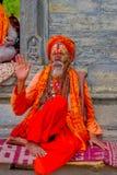 KATHMANDU, NEPAL - 22. MÄRZ 2017: Schließen Sie oben vom Jogi in Pashupatinath-Tempel von Kathmandu, Nepal Lizenzfreies Stockbild
