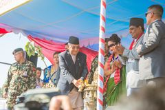 Nepal`s Prime Minister Mr.KP Sharma Oli Taking Part at Guinness World Records Event 2018. Kathmandu Nepal -Mar 3,2018: Nepal`s Prime Minister Mr.KP Sharma Oli royalty free stock photos