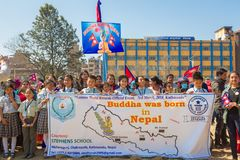 Nepalese People Taking Part at Guinness World Records Event 2018. Kathmandu Nepal -Mar 3,2018: People taking part in the Guinness World Records Event 2018 Royalty Free Stock Photos