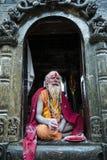 En sadhu under den Shivaratri festivalen i Kathmandu, Nepal Fotografering för Bildbyråer