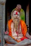 KATHMANDU NEPAL, MARZEC, - 22, 2017: Zamyka up joga Shaiva sadhu obsiadanie w Pashupatinath świątyni Kathmandu z jego Zdjęcia Stock
