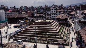 KATHMANDU, NEPAL - MAY 2: Top down view of durbar square area stock images