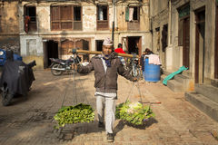 KATHMANDU, NEPAL-MAY 30: Unknown man selling vegetables Street a Royalty Free Stock Photos