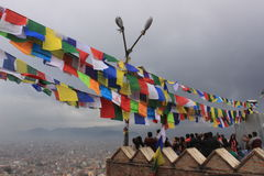 Kathmandu, Nepal, modlitewne flaga, soyambunath Obrazy Royalty Free