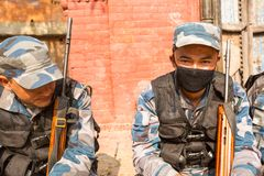 KATHMANDU, NEPAL - nepalese soldiers Armed Police Force near public school, Royalty Free Stock Image