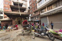 KATHMANDU, NEPAL - NOVEMBER 20 : Local people on the street sell Stock Photography