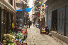 KATHMANDU, NEPAL - NOVEMBER 20 : Local people on the street sell Royalty Free Stock Photography