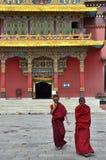 Kathmandu, Nepal, November, 13, 2012, Nepali  Scene: Monks walking near Buddhist Nyingmapa monastery near Boudhanath stupa Stock Photo