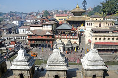 Kathmandu, Nepal, November, 13, 2012, Pashupatinath complex, cremation of dead on the banks of the sacred Bagmati river. Royalty Free Stock Photography
