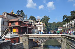 Kathmandu, Nepal, November, 13, 2012, Pashupatinath complex, cremation of the dead on the banks of the sacred Bagmati river.  In s Stock Image