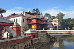 Kathmandu, Nepal, November, 13, 2012, Pashupatinath complex, cremation of dead on the banks of the sacred Bagmati river. Stock Photography