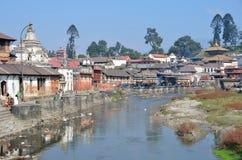 Kathmandu, Nepal, November, 13, 2012, Pashupatinath complex, cremation of dead on the banks of the sacred Bagmati river. Stock Photo