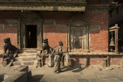 KATHMANDU, NEPAL-NOVEMBER 20: Street at the Durbar Square,Lalitp Royalty Free Stock Photos