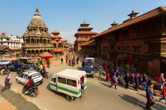 KATHMANDU, NEPAL-NOVEMBER 20: Street at the Durbar Square,Lalitp Stock Photo