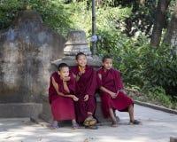 KATHMANDU, NEPAL - NOVEMBER 04 : Stupa Swayambhunath.Young monks Royalty Free Stock Image
