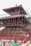 Kathmandu, Nepal - November 03, 2016: Temple under renovation after the devastating earthquake of 2015 Royalty Free Stock Photos